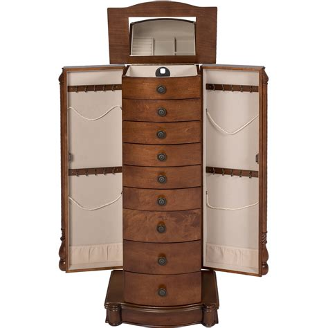 jewelry chest armoire armoire jewelry cabinet box storage chest stand organizer necklace wood walnut ebay