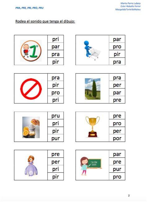 imagenes con palabras pra pre pri pro pru complet 205 simo material para trabajar s 205 labas inversas y