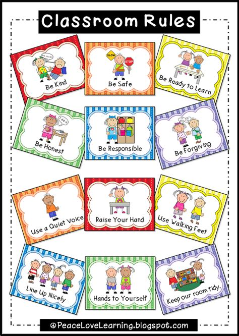 printable poster classroom rules peace love and learning august 2013