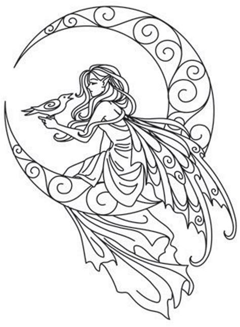 coloring pages for adults moon fairy on the moon embroidery pattern hezk 233 zvl 225 štn 237