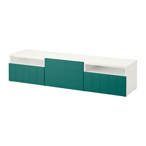 besta push opener best 197 tv bench white hallstavik blue green drawer