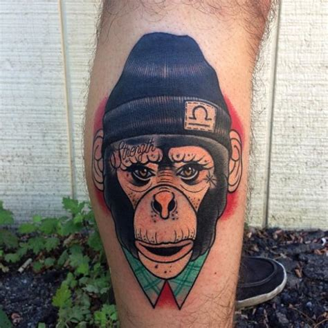 tattoo new school monkey tatuaż ręka new school małpa kapelusz przez mike stocklings