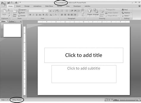 how to add themes powerpoint 2007 1 creating a basic presentation powerpoint 2007 the