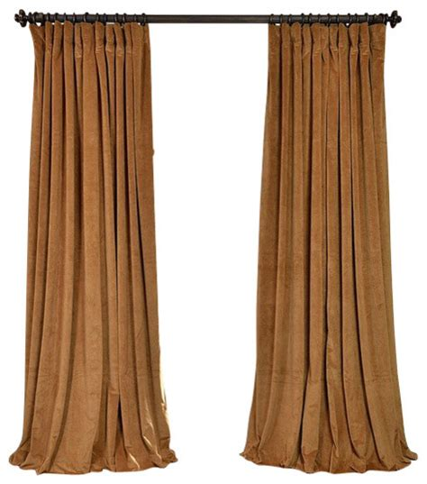 Gold Velvet Curtains Signature Gold Doublewide Blackout Velvet Curtain Traditional Curtains By Half Price