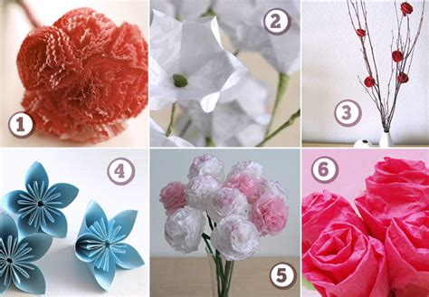 Flowers With Papers - six paper flowers diy flower