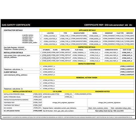 Landlord Gas Safety Certificate Form For Servicem8 Servicem8 Form Templates