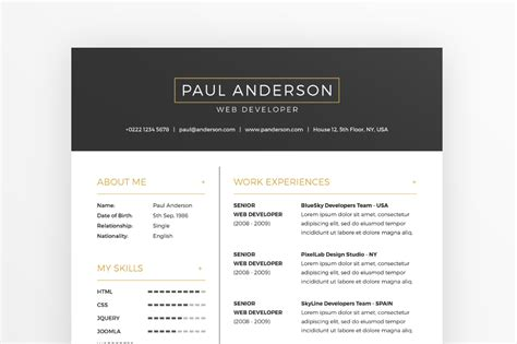 resume cover letter template business cards  behance