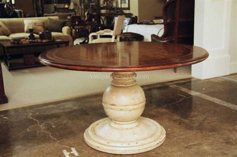 Kitchen Pedestal Table Country Wood Table And Painted Pedestal Base For Kitchen
