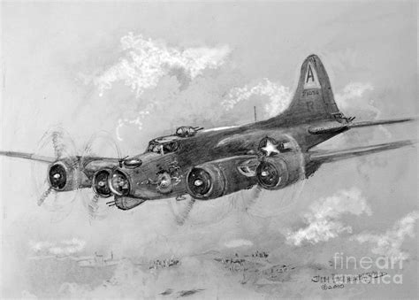 B 17 Sketches by B 17 Flying Fortress Drawing By Jim Hubbard