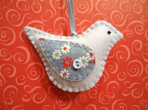 Handmade Bird Ornaments - retro baby blue bird handstitched felt ornament