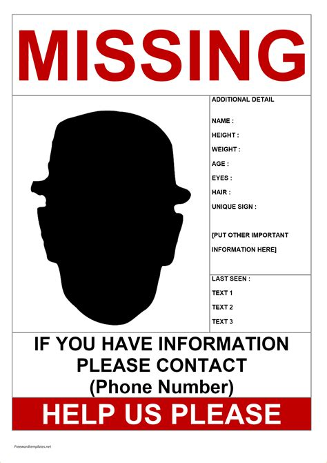 printable missing poster 11 missing person poster templates free printable word