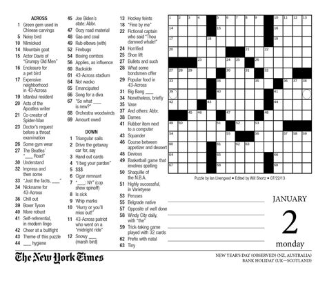 printable version of new york times new york times crossword printable 81tl5apungl picture