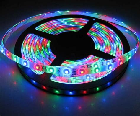 Led Rgb Light Strips Battery Powered 3528 Rgb Led Light Kit With 44 Key Remote Waterproof 300 Leds 16 4ft