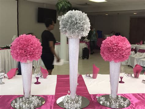 Hot pink and silver centerpieces for wedding.   Wedding