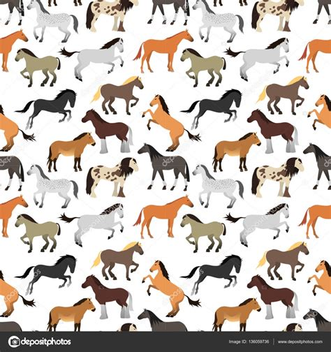 pattern horse seamless pattern with horse in flat style stock vector