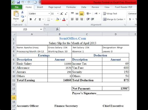 payslip format in excel sheet