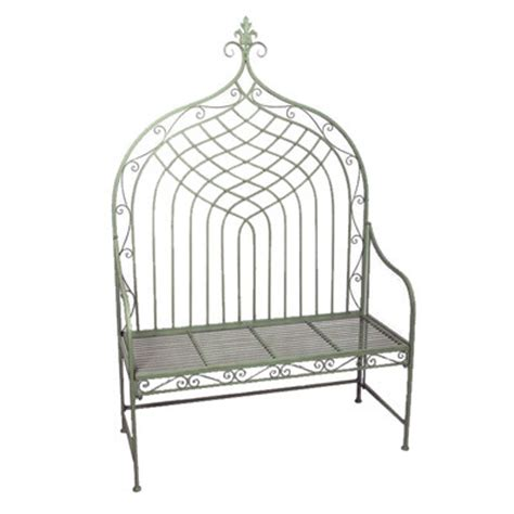 green metal garden bench high backed metal garden bench in sage green homegenies