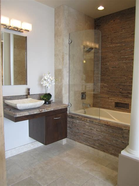 Tile Bathtub Shower Combo by Floating Cabinets Bathroom