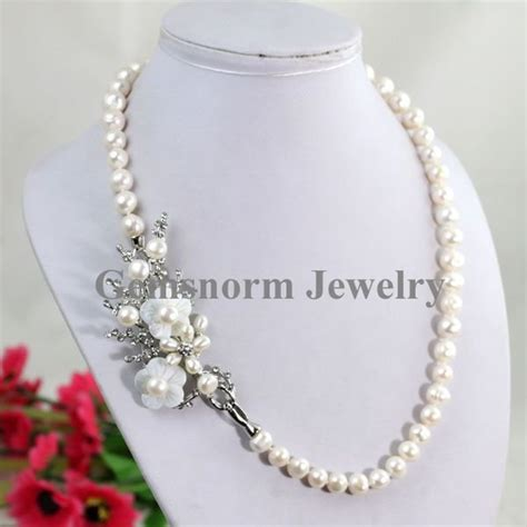 Charming 7 8mm Freshwater Pearl Necklace Elegant Design Fashion Pearl Jewelry Hot Sale 3 Colors