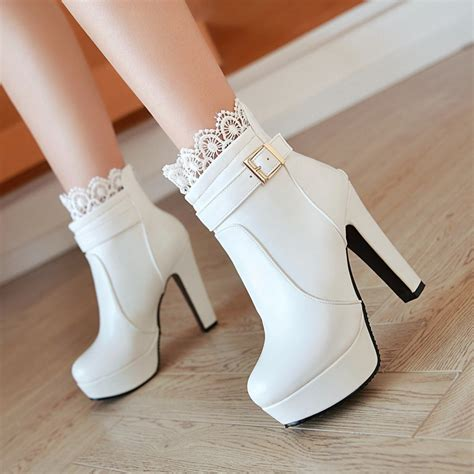 white high heel booties ankle boots high heels boots platform shoes womens