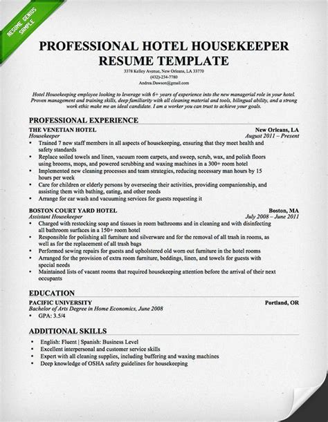 professional housekeeper maid resume template free