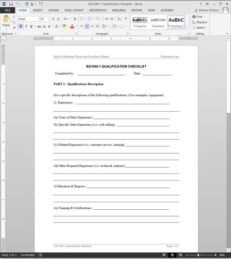 qualification checklist template
