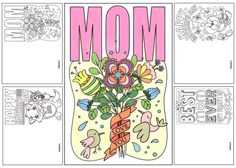 printable mothers day cards to color 4 free printable s day ecards to color