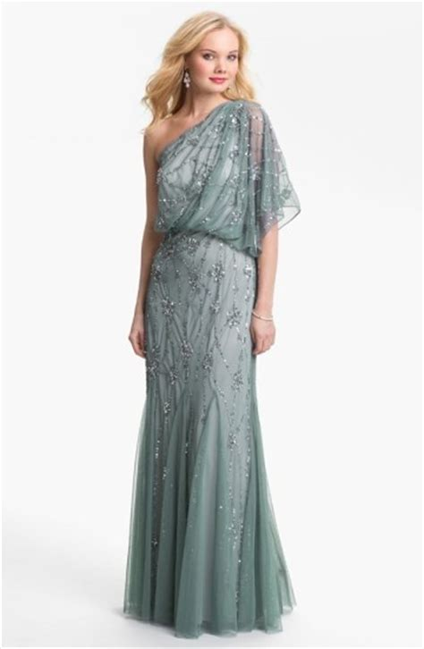 adrianna papell draped shoulder gown 20 s inspired one shoulder silver draped prom dress