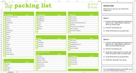 vacation packing list template trip packing list excel template savvy spreadsheets