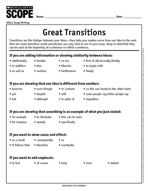 transition words in writing anchor chart kit tpt