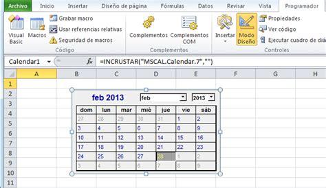 crear calendario en excel control calendario en excel 2010 excel total