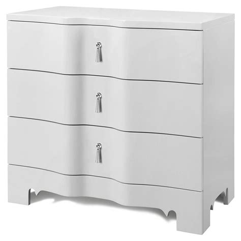 White And Silver Nightstand Lorna Modern Classic Silver White Lacquer 3 Drawer Nightstand Kathy Kuo Home