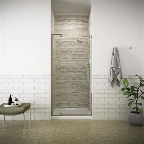 Kohler Shower Doors Lowes Shop Kohler Revel 27 3125 In To 31 125 In Frameless Brushed Nickel Pivot Shower Door At Lowes