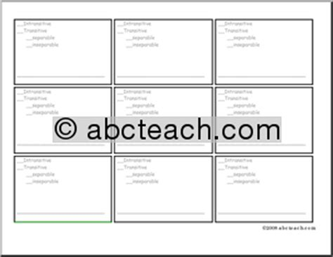 phrasal template flashcard template phrasal verb template esl abcteach