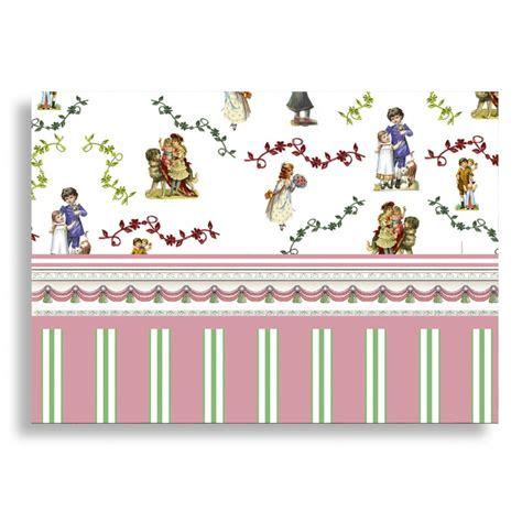 dolls house wallpaper to print miniature doll house decor pink stripe sticker wallpaper