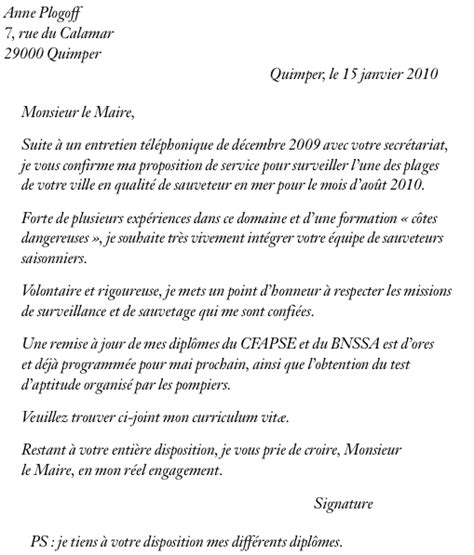 Exemple De Lettre De Motivation Travail D été Employment Application September 2015