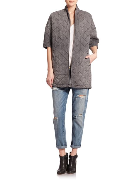 Quilted Denim Jacket by Current Elliott The Quilted Denim Jacket In Gray Lyst