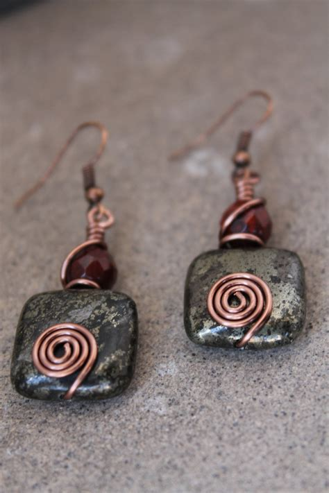 Handmade Wire Wrapped Jewelry - wire wrapped jewelry handmade rustic earrings antique