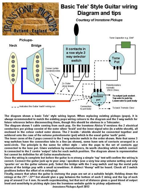telecaster wiring diagram ironstone electric guitar pickups