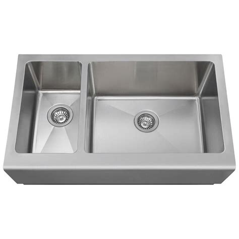 Stainless Steel Apron Front Kitchen Sink Polaris Sinks Farmhouse Apron Front Stainless Steel 33 In Basin Kitchen Sink Pr704 The