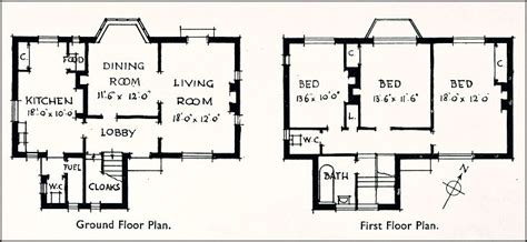 ground and first floor plans 1930 s housing house at epsom surrey