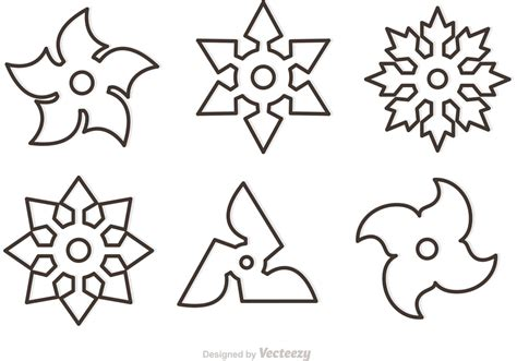 ninja star pattern outline ninja star vectors download free vector art
