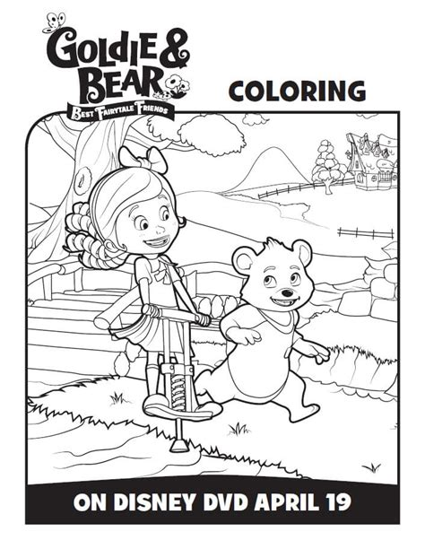 goldie bear coloring pages disney junior goldie and bear coloring pages activity sheets