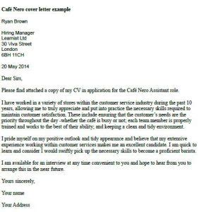 cover letter exles barista caffe nero cover letter exle learnist org
