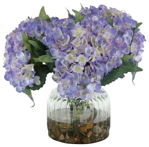 Blue Artificial Flowers In Vase by Silk Blue Hydrangeas In Ribbed Glass Vase Traditional