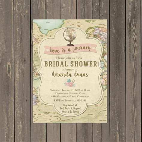 Travel Bridal Shower Invitations Decor Ideas Mid South Bride Travel Themed Invitation Template Free
