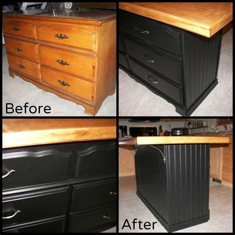 dresser kitchen island how to make a dresser into a kitchen island woodworking
