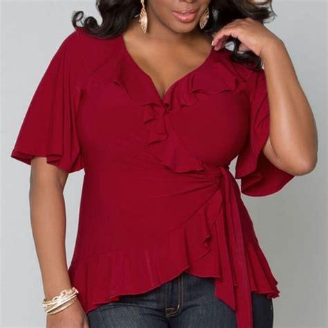 Size Jumbo Blouse Sabrina 2017 new large size ruffled shirt blouses wine casual tops ebay