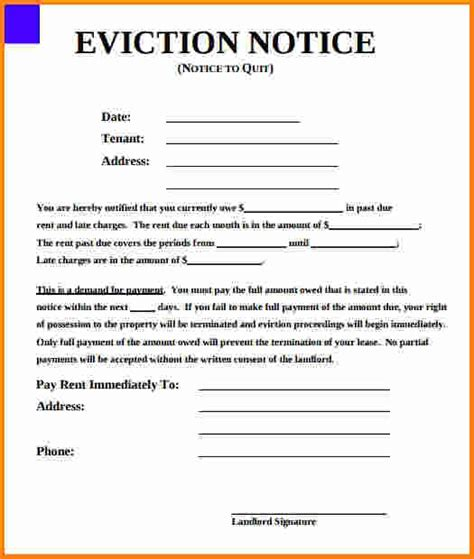 sle eviction notice for unpaid rent eviction notice form final photo printable 1 cruzrich