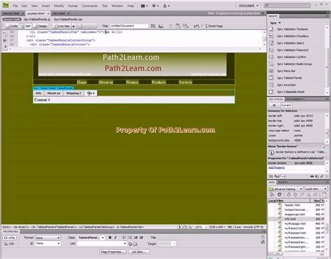 dreamweaver tutorial on youtube dreamweaver spry tab menu tutorial youtube